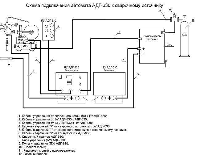 Схема подключения автомата АДГ-630 к сварочному источнику